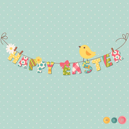 Cute Happy Easter card. Clothesline with letters on it. Vector