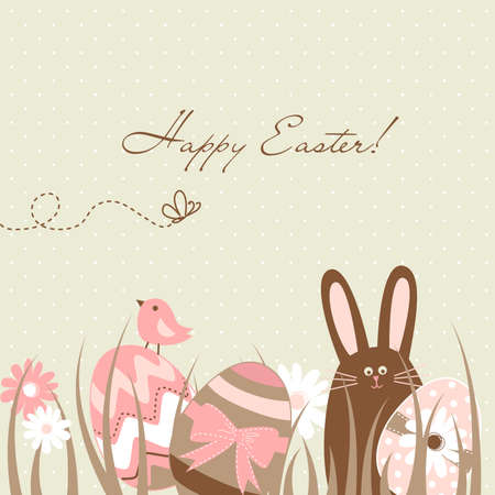 Cute Easter Egg Card Vector