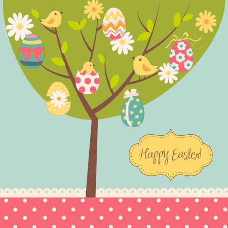 Easter card. Retro Easter tree card