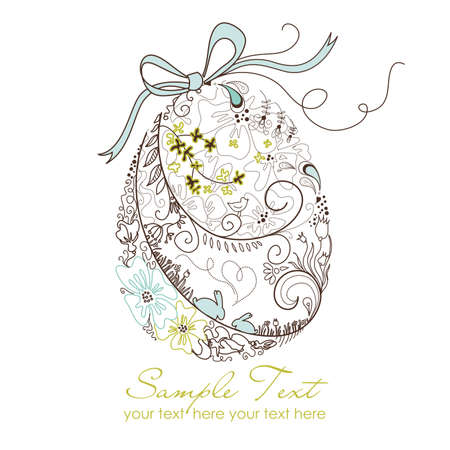 brown eggs: Easter egg with floral elements  Illustration