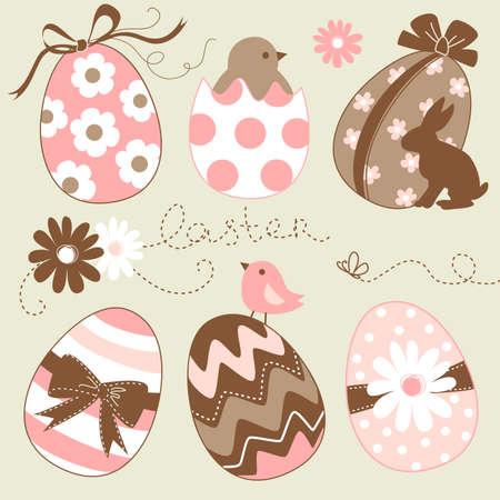 silhouette lapin: Mignon Easter Egg Set