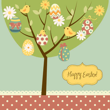 Retro Easter card with a tree, painted eggs, cicks, flowers and other cute elements