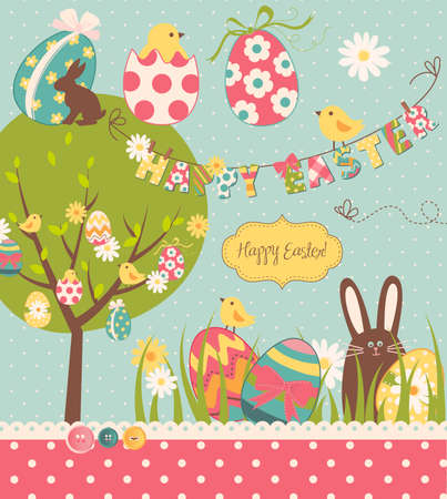 vintage postcard: Easter Extravaganza. Big Easter set with cute chocolate rabbit, colourful eggs, chicks, Easter tree and a Clothesline with letters on it. Ideal for scrapbooking
