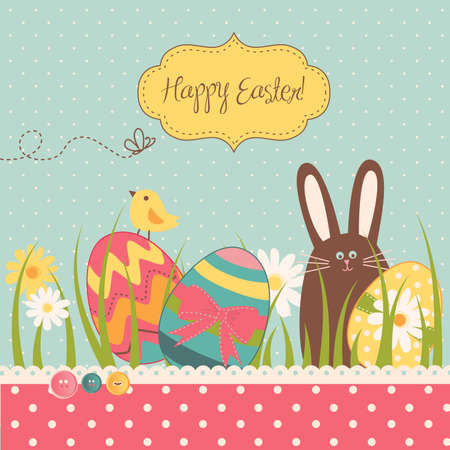 Easter Background with cute chocolate rabbit, colorful eggs and a chick
