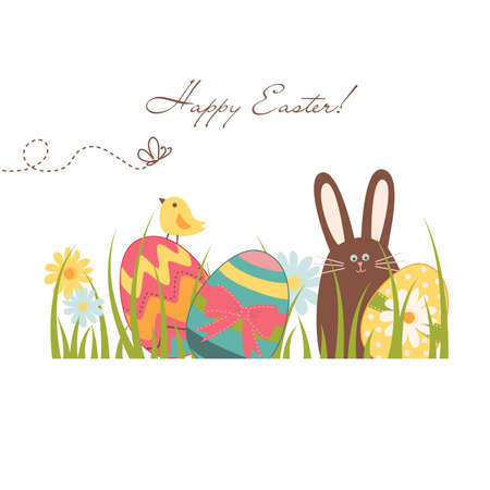 Easter Background with cute chocolate rabbit, colorful eggs and a chick Ilustracja