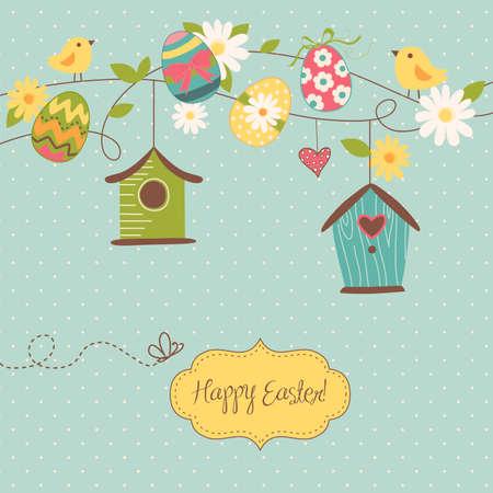 vol d oiseaux: Backgroun printemps Belle avec des maisons d'oiseaux, les oiseaux, les ?ufs et les fleurs