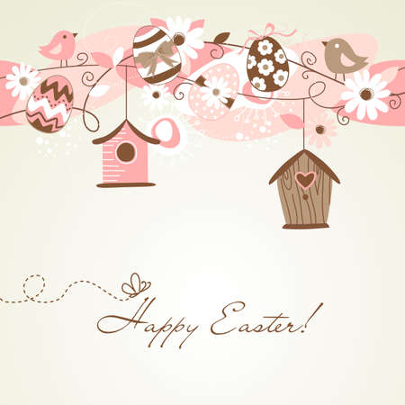 Beautiful Spring backgroun with bird houses, birds, eggs and flowers Vector