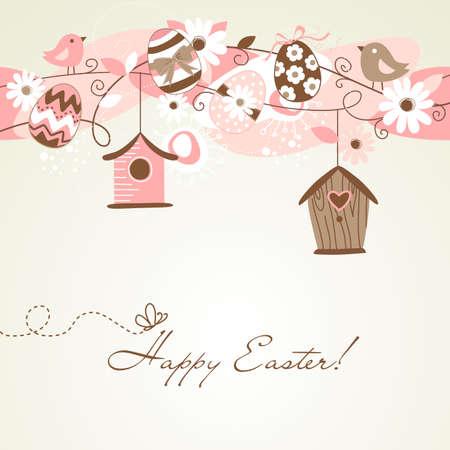 Prachtige lente pagina met vogelhuisjes, vogels, eieren en bloemen