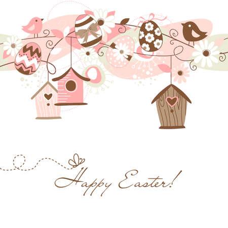 Beautiful Spring backgroun mit Vogelhäuschen, Vögel, Eier und Blumen Standard-Bild - 13346956