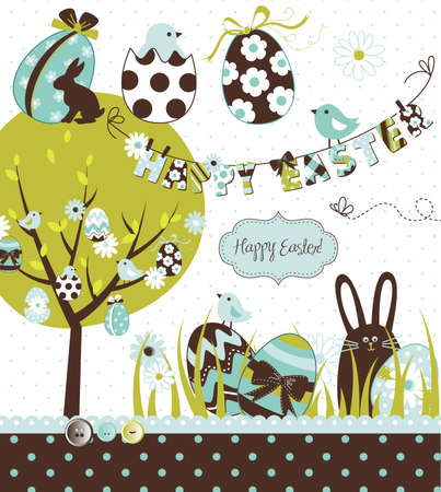 Easter Extravaganza. Big Easter set with cute chocolate rabbit, colourful eggs, chicks, Easter tree and a Clothesline with letters on it. Ideal for scrapbooking Stock Vector - 13346963