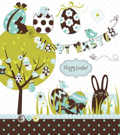 arbol de pascua: Pascua Extravaganza. Gran Pascua conjunto con conejo de chocolate lindos, coloridos huevos, los pollitos, el árbol de Pascua y un tendedero con las letras en el mismo. Ideal para álbumes de recortes