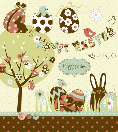 Pâques Extravaganza. Big Pâques sertie de lapin en chocolat mignon, oeufs colorés, poussins, Pâques arbre et une corde à linge avec des lettres à ce sujet. Idéal pour le scrapbooking Banque d'images - 13346969