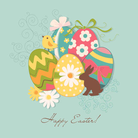 Template of beautiful Easter greeting card, vector illustration  Vector