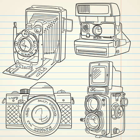 Cool hand drawn old camera set, all time legends Vector