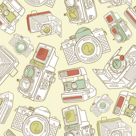 photo camera: Seamless hand drawn old camera pattern, black and white