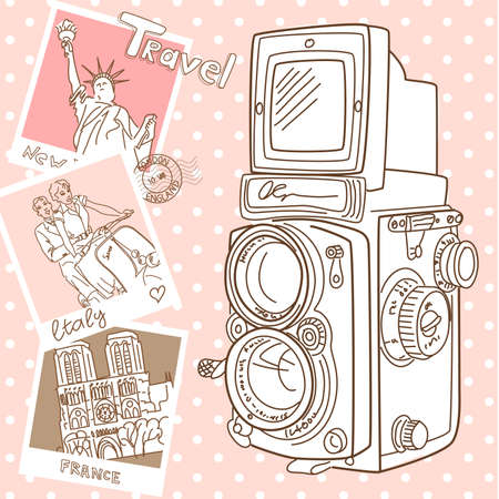Travel with your vintage camera. Snapshots of different countries and old TLR camera on a wooden background  Ilustração