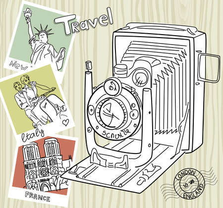 Travel with your vintage camera. Snapshots of different countries and old camera on a wooden background  Vector