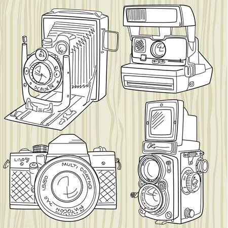 Dibujado a mano conjunto de cámara de edad, todas las leyendas de tiempo Foto de archivo - 14255110