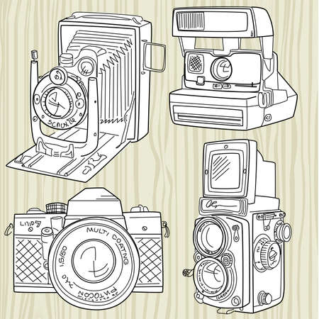 hand drawn old camera set, all time legends Vector