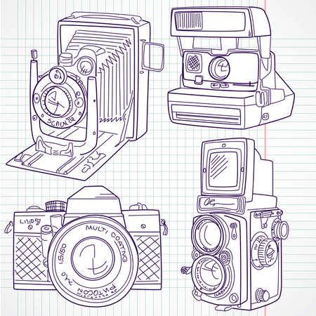 esporre: Cool Hand disegnato set vecchia macchina fotografica, tutte le leggende tempo Vettoriali