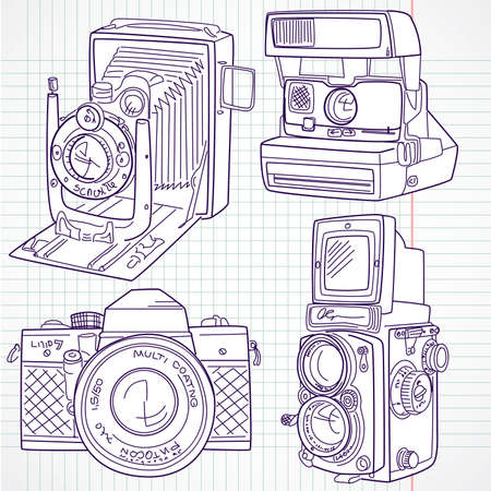 digital camera: Cool hand drawn old camera set, all time legends