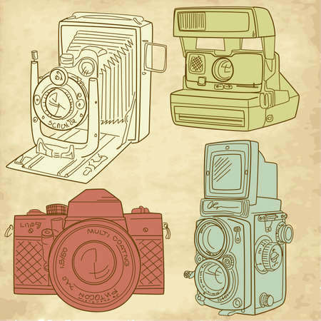photo camera: hand drawn old camera set, all time legends