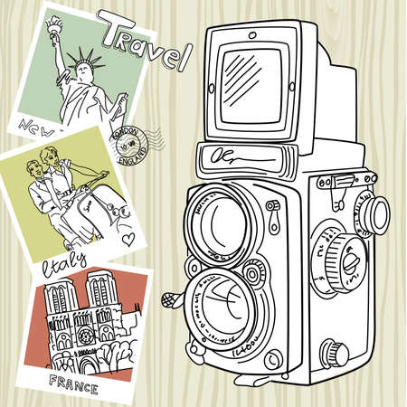 postcard background: Travel with your vintage camera. Snapshots of different countries and old TLR camera on a wooden background