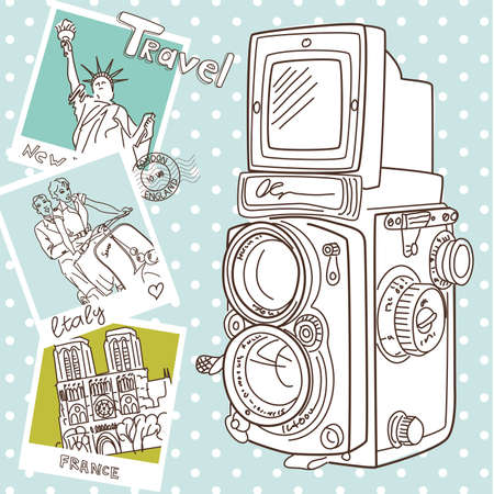 Travel with your vintage camera. Snapshots of different countries and old TLR camera on a wooden background  Vector