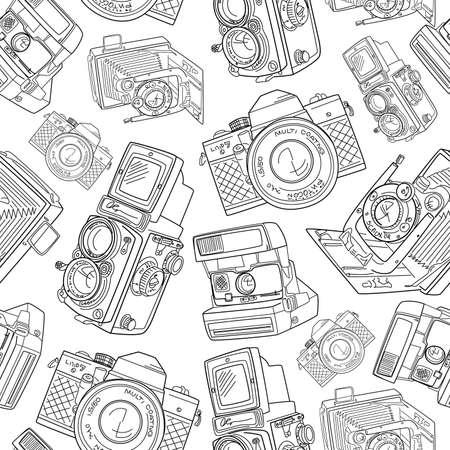 photography: Seamless Hand gezeichnet Muster alte Kamera, schwarz und wei� Illustration