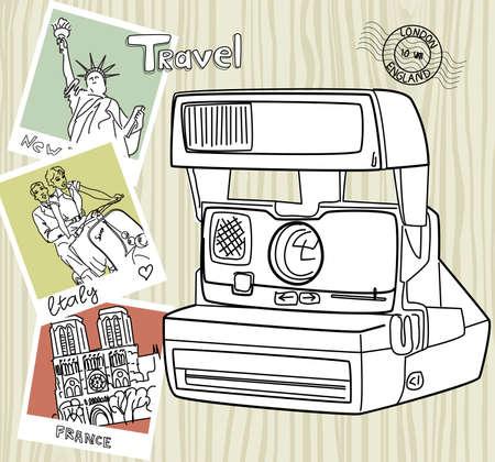 paris vintage: Viaja con tu cámara de la vendimia. Las instantáneas de los diferentes países y la cámara vieja de un fondo de madera Vectores