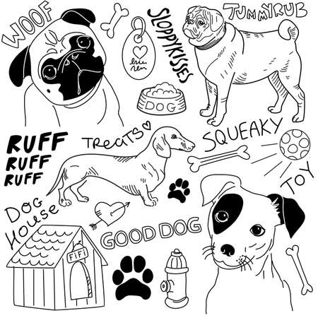 dog kennel: I love Dogs! vector doodles set