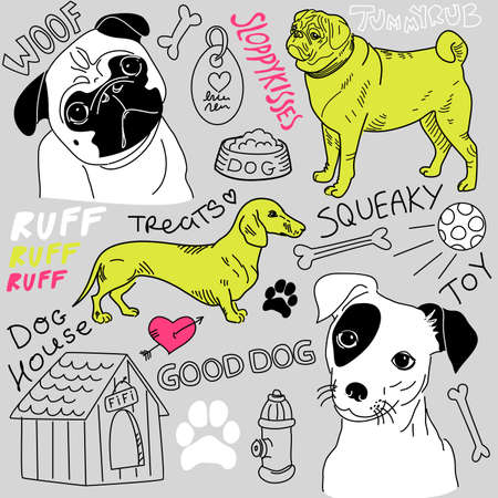 pug dog: I love Dogs! vector doodles set