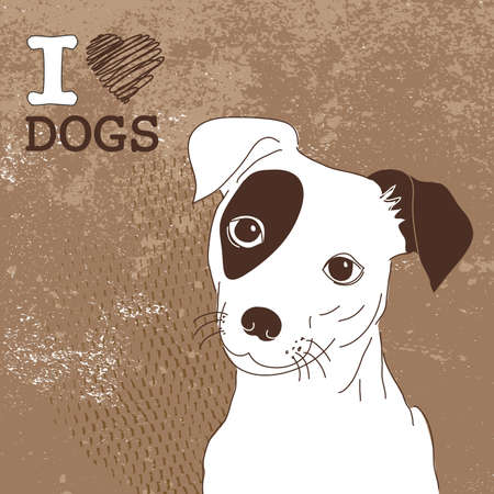 Cute Jack Russell Terrier. Brilliant card for doglovers!  Vector