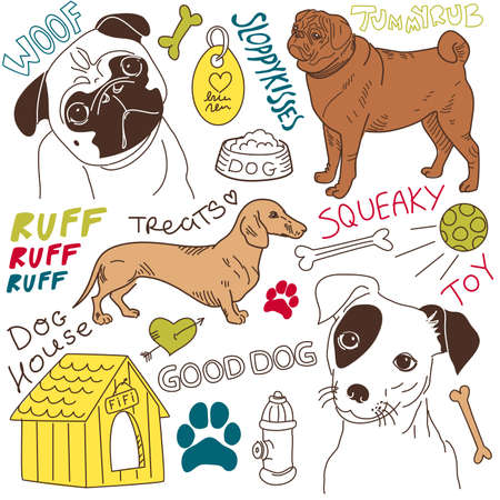 kennel: I love Dogs! vector doodles set