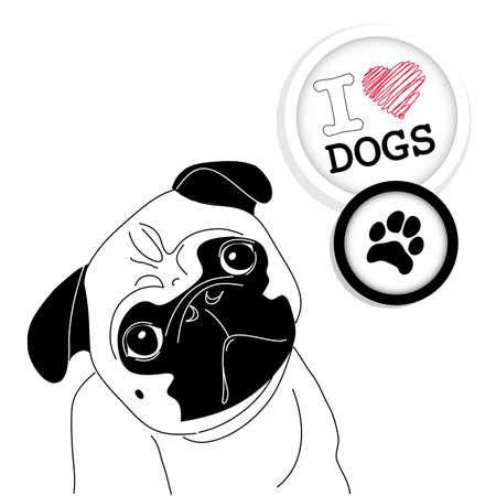 french label: Me encanta Pugs! Cute little pug en el fondo de lunares Vectores