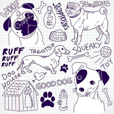 simplistic icon: I love Dogs! vector doodles set