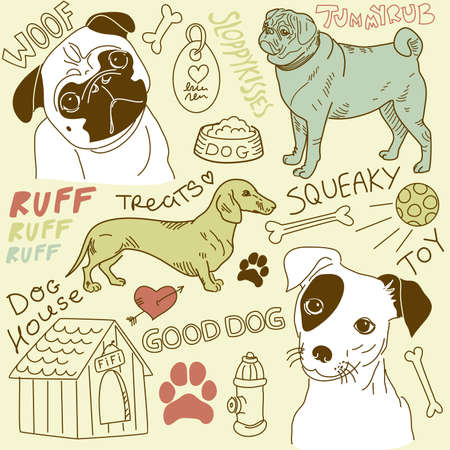 pug puppy: I love Dogs! vector doodles set
