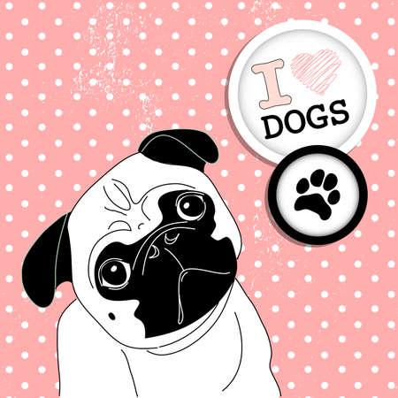 perro boxer: Me encanta Pugs! Cute little pug en el fondo de lunares Vectores