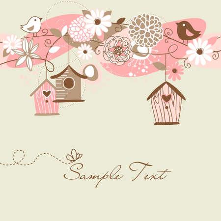 oiseau dessin: Fond de printemps Belle avec des maisons d'oiseaux, des oiseaux et des fleurs