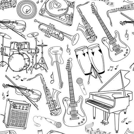 tambor: la música sin fisuras patrón Vectores