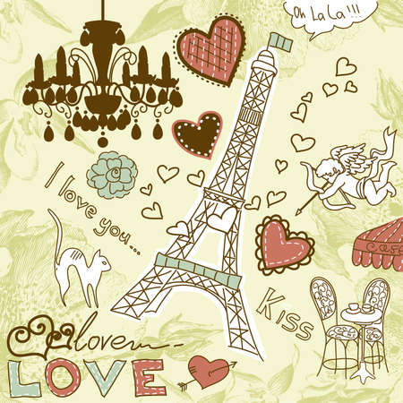 LOVE in Paris doodles  Stock Vector - 14255149