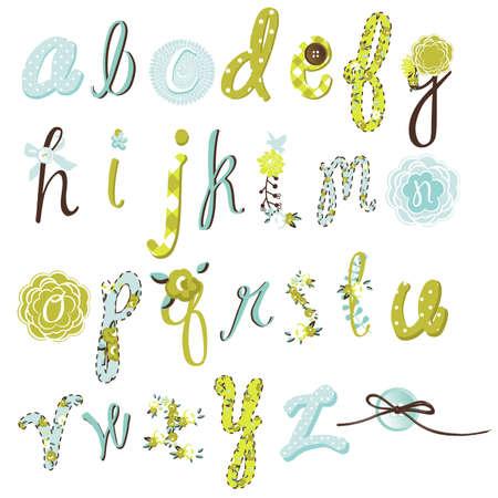 고유 벡터 꽃 글꼴. 굉장한 손에 알파벳을 그려.