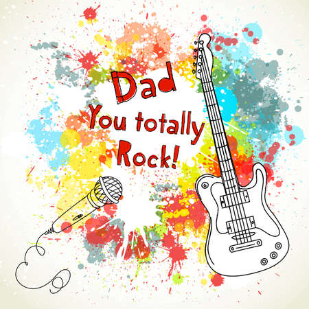 father s day: Happy Fathers Day card, with guitar and microphone