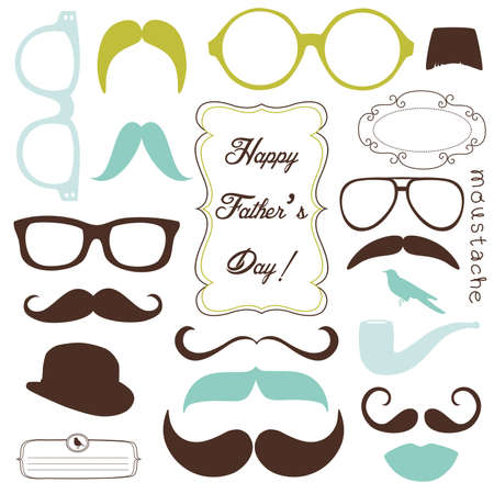 happy people white background: Happy Fathers day background, spectacles and mustaches, retro style Illustration
