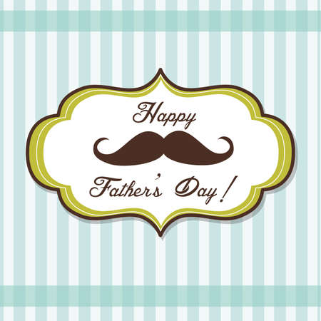 cartoon hairdresser: Happy Fathers day background with fancy mustache, retro style