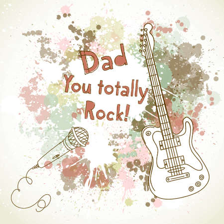 postcard background: Happy Fathers Day card, with guitar and microphone