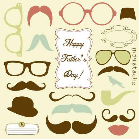 幸せな父の日バック グラウンド、眼鏡、口ひげを生やして、レトロなスタイル 写真素材 - 14255035