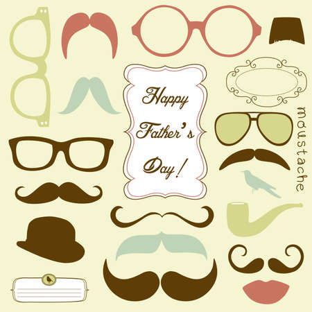 postcard background: Happy Fathers day background, spectacles and mustaches, retro style Illustration