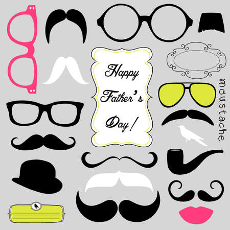 fake smile: Happy Fathers day background, spectacles and mustaches, retro style