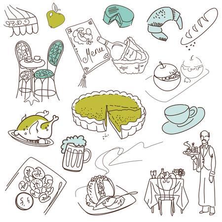 apple tart: Food doodles. Elegant cuisine.